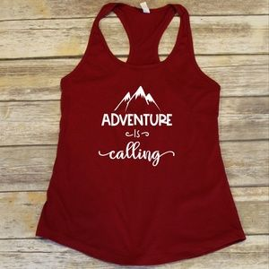 Adventure is Calling - Ladies red racerback tank